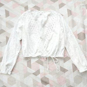 BP White Eyelet Embroidered Blouse Top Long Sleeve